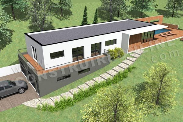 photo maison contemporaine sur terrain en pente plans maison