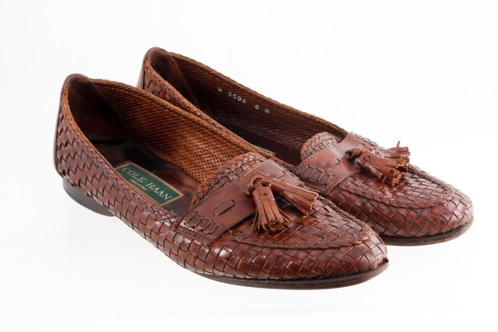 d4a364fd670 COLE HAAN BROWN LEATHER BASKET WEAVE LOAFERS TASSELS WOMENS SIZE 8 B ITALY  W3506  ColeHaan