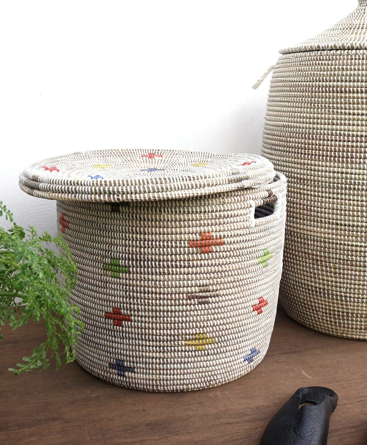 Senegalese Basket With Flat Lid Toy Storage Multi Color Cross Pattern Senegalese Baskets Toy Storage Toy Storage Baskets
