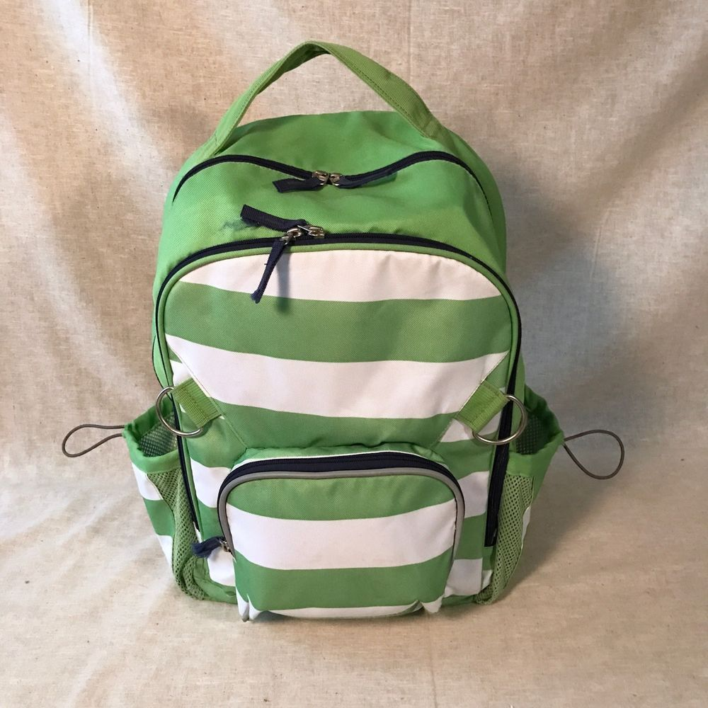 Pottery Barn Kids Large Fairfax Green And White Backpack  #PotteryBarnKids #Backpack