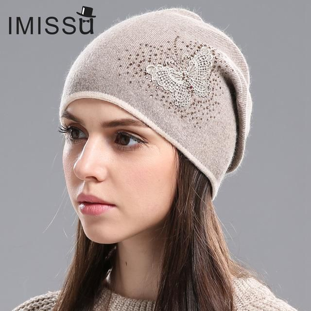 5e57a2de492 IMISSU Women s Winter Hats Knitted Real Wool Skullies Casual Cap Beanie  with Butterfly Pattern Solid Gorros Bonnet Femme