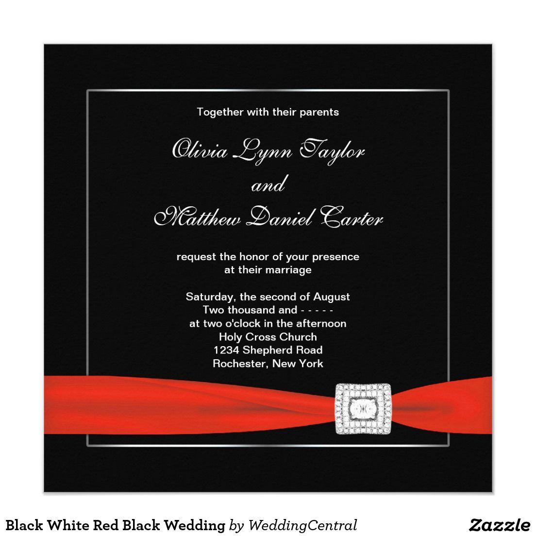 Black White Red Black Wedding Invitation   Pinterest   Red black ...