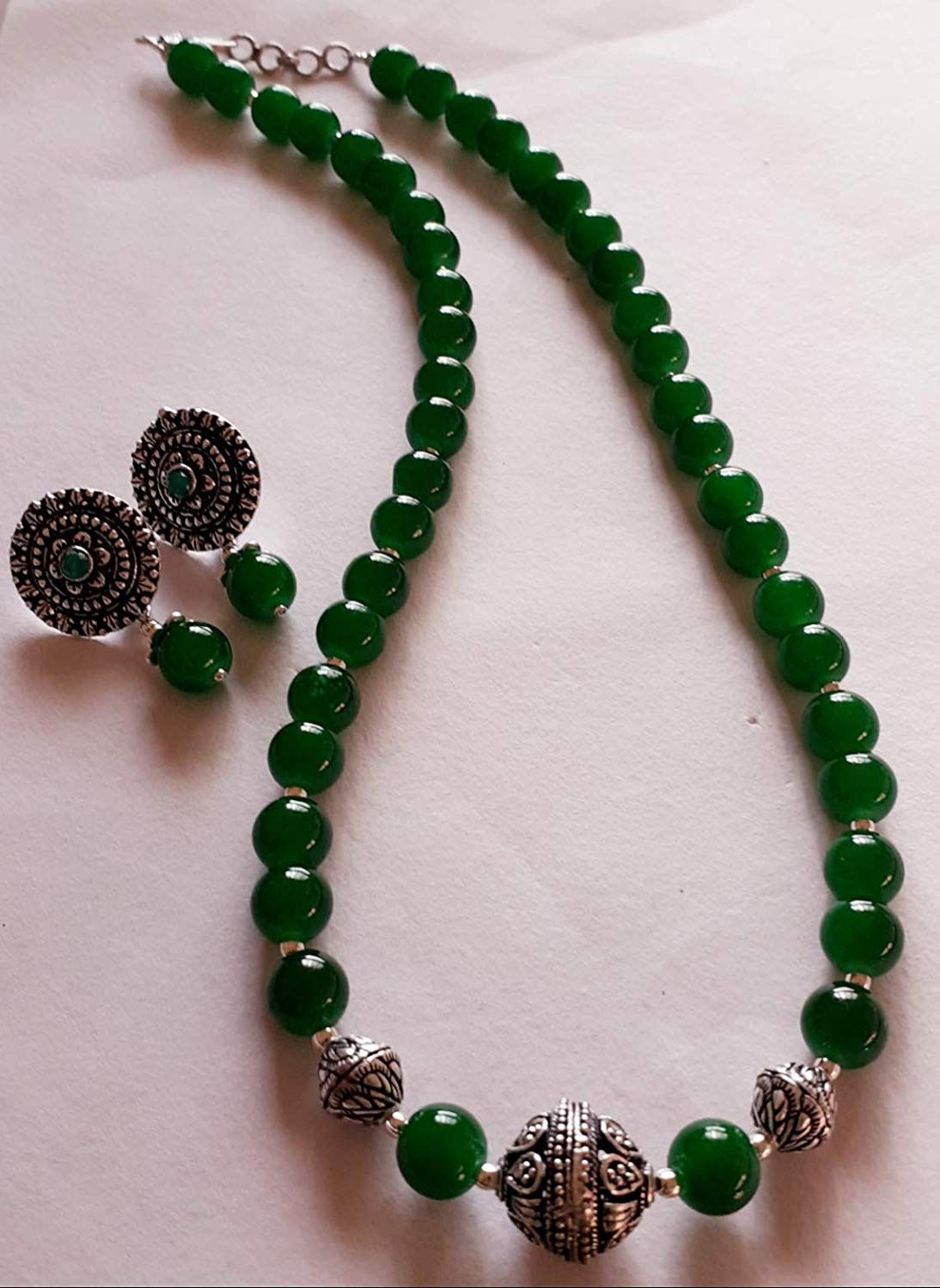 Buy Green Glass Bead Oxidised Silver Bead Fashion Jewellery Set Online At Low Prices In India Am In 2020 With Images Fashion Jewelry Sets Black Beaded Jewelry Stone Bead Jewelry