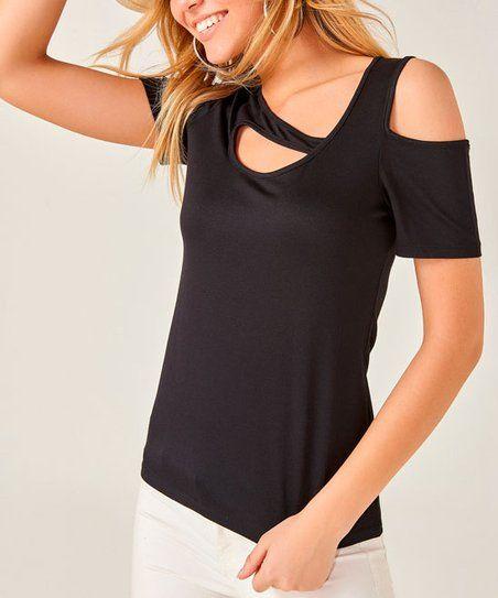 eb5d99b36e16 AQE Fashion Black Asymmetrical-Cutout Top - Women