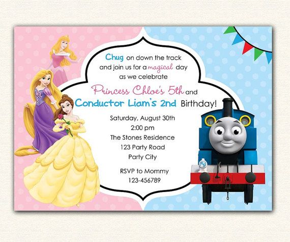 Thomas Train and Disney Princess Birthday Invitation PRINTABLE – Printable Disney Birthday Invitations