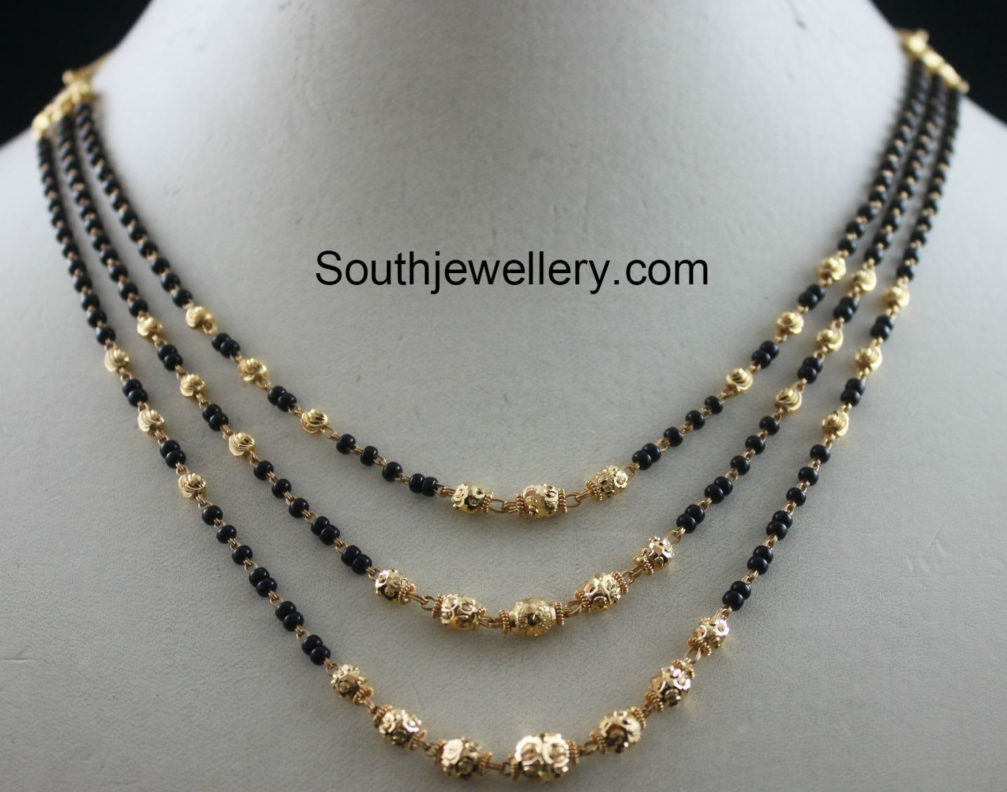 22 carat gold floral designer pendant with multiple beads chain and - Black Beads Chain Latest Jewelry Designs Page 5 Of 19 Jewellery Designs