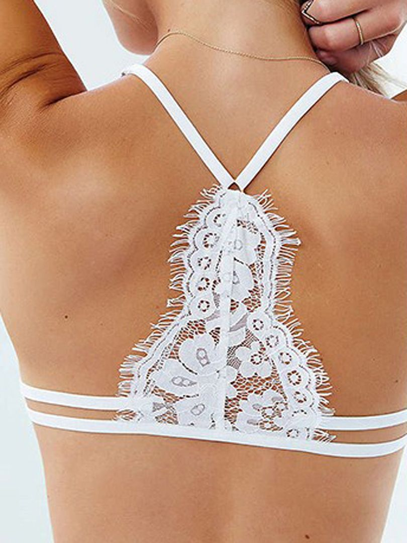 a60c8ff434 White Spaghetti Strap Button Front Lace Bra