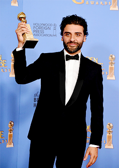 Oscar Isaac, winner of the award for Best Performance by an Actor in a Limited Series or a Motion Picture Made for Television for 'Show Me a Hero,' poses in the press room during the 73rd Annual Golden Globe Awards held at the Beverly Hilton Hotel on January 10, 2016