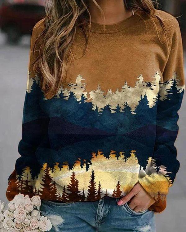 Landscape Print Sweatshirt US$ 30.98 - Landscape P