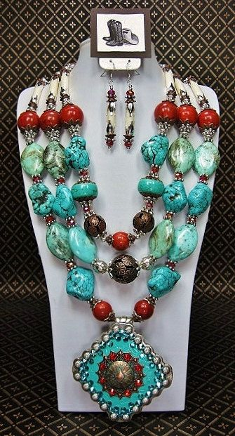 TRIPLE STRAND TURQUOISE / Coral / Buffalo Bone Ethnic Southwest Western Chunky Cowgirl Statement Necklace Concho Pendant – NaTiVe SPLeNDoR