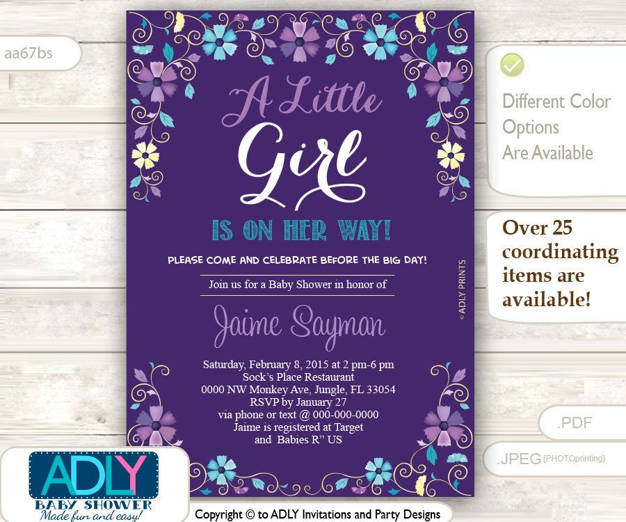 Purple, Turquoise and Gold Baby Shower Invitation, blossom ...