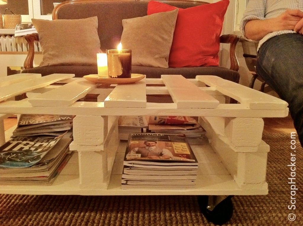 Step by step tutorial on diy palette coffee tables for Next home coffee table