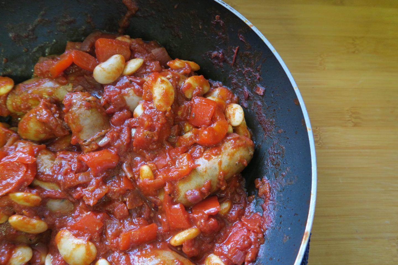 Gluten free balsamic sausage and butter bean casserole