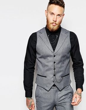 Explore Charcoal Suit, Tailored Suits, and more! Religion X Noose & Monkey  Waistcoat with Chain in Skinny Fit