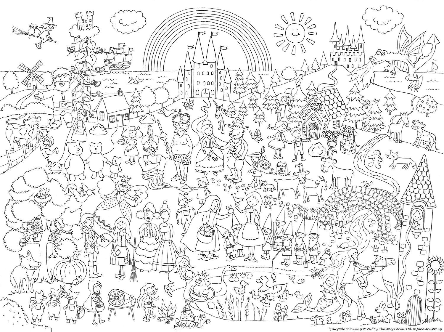 The Story Corner S Fairytale Colouring Poster By June Armstrong The Story Corner Ltd Amazon Co Uk Toys Games Coloring Books Color Fairy Tales