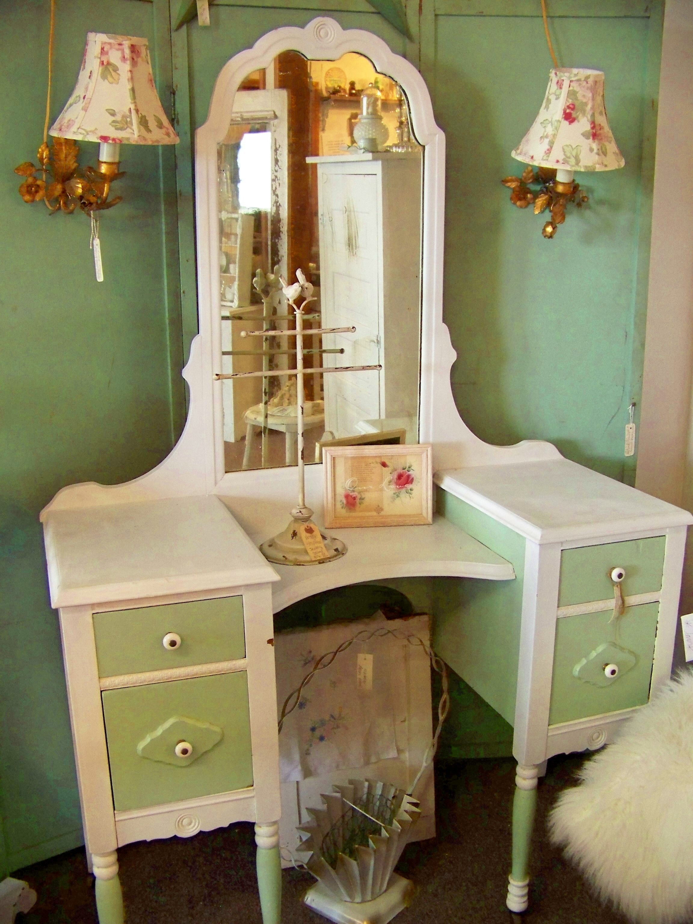 Antique vanity painted with diy brand chalk type paint colors bead