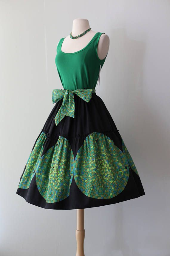 Vintage 1950'S Cotton Border Print Skirt With Mosaic Tile Print