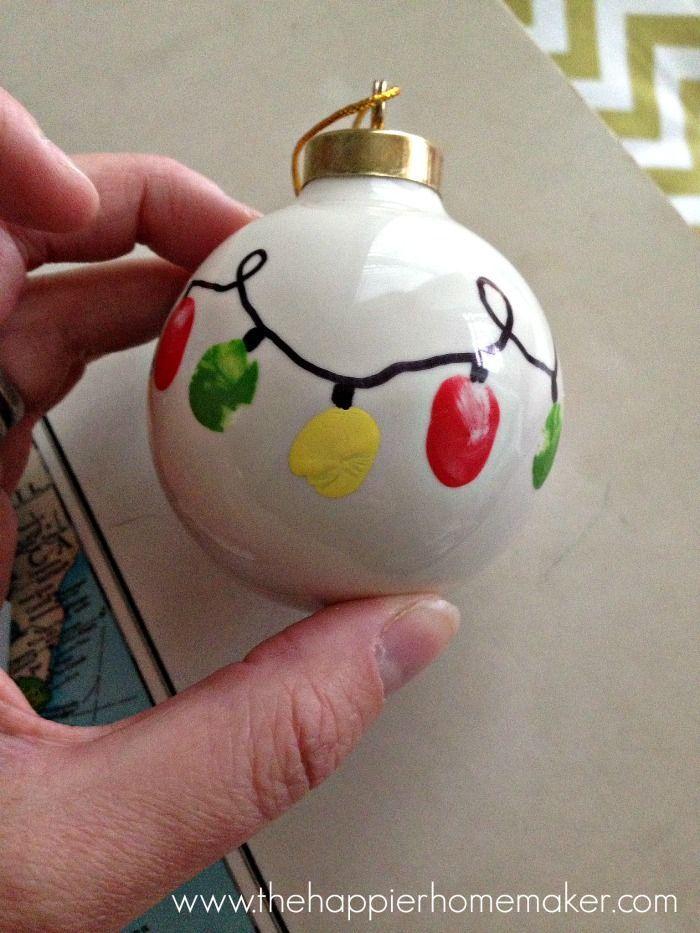 Kid's Fingerprint Christmas Light Ornament