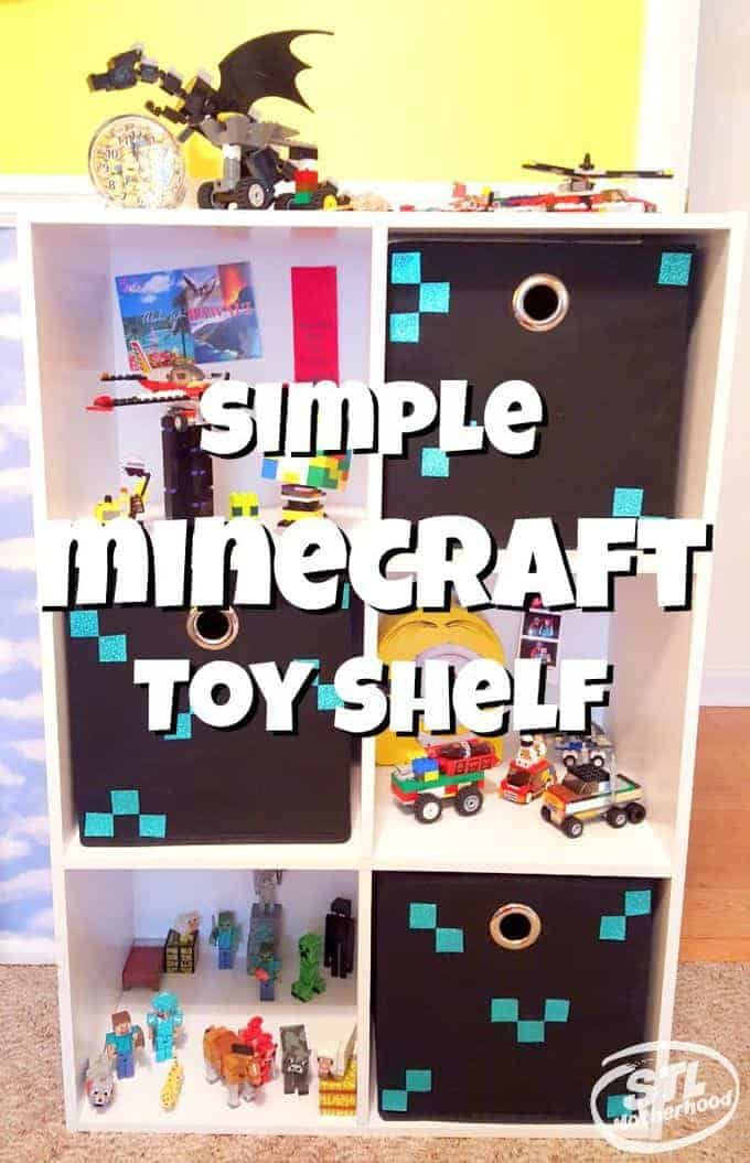 Simple Minecraft Toy Shelf For Your Kid's Bedroom