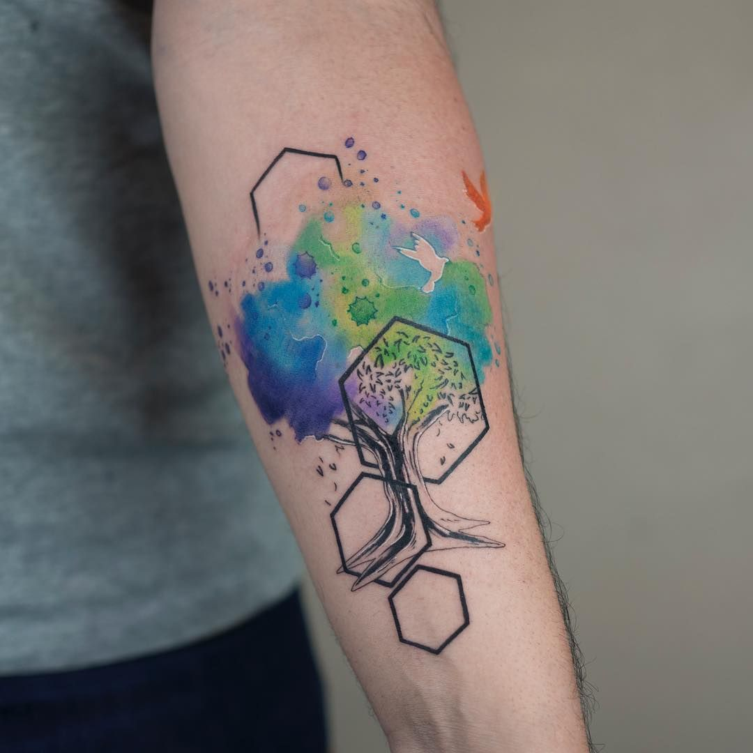 Watercolor Tattoos By Baris Yesilbas Hexagon Tattoo Watercolor
