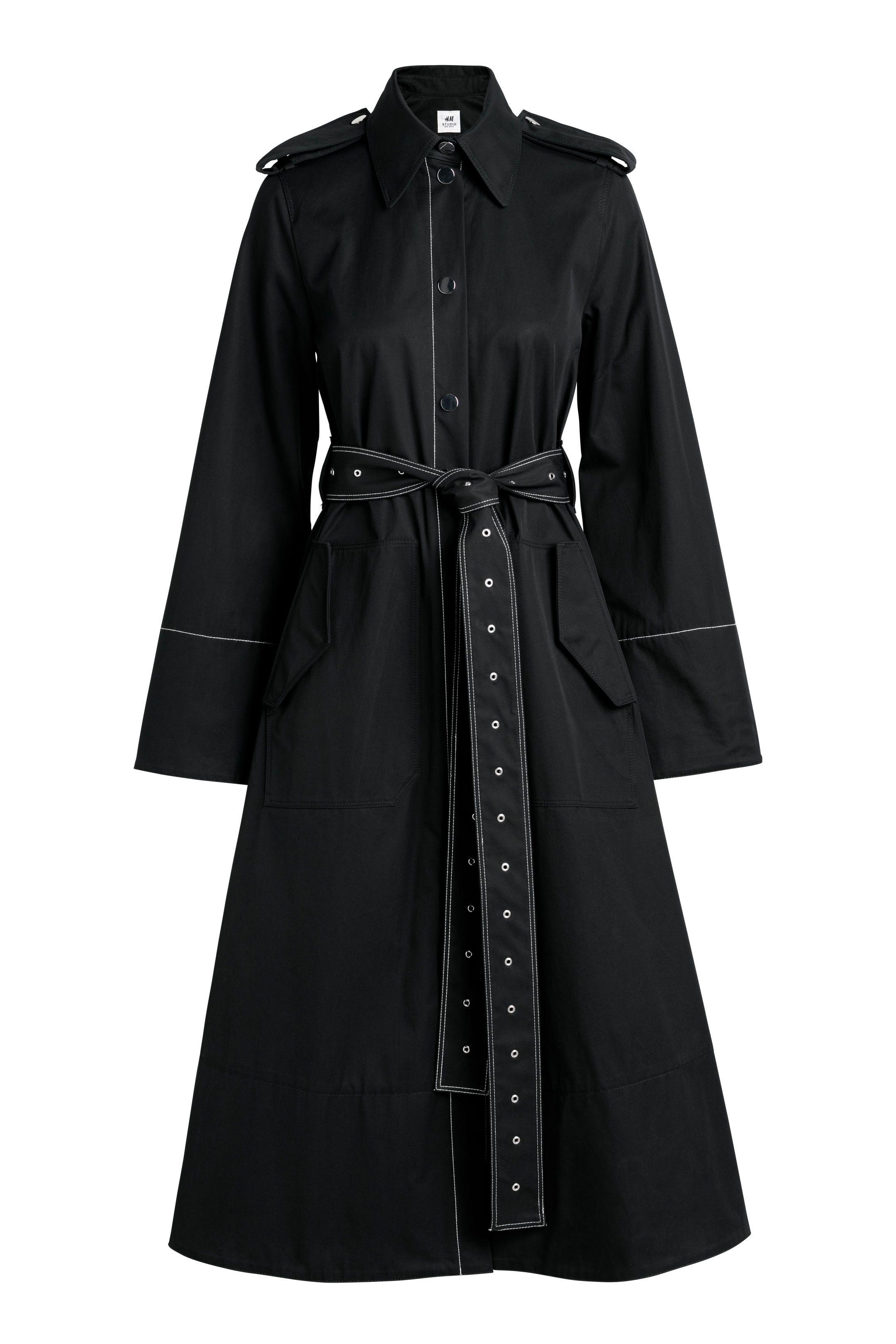 Ann taylor black trench coat sp small petite euc