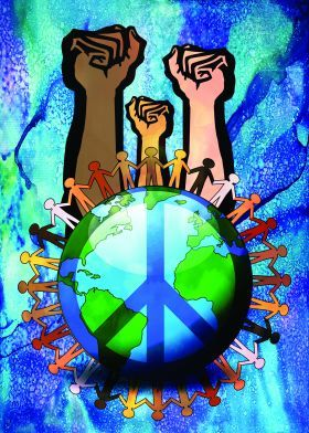 Unity And Peace Metal Poster Print Denis Marsili Displate Peace Sign Art Peace Poster Peace Art