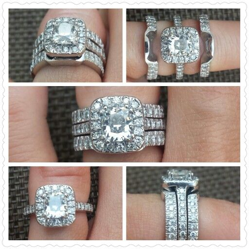 Custom Cushion Cut Halo Wedding Ring Set Two Bands Fit Snuggly Around Engagement