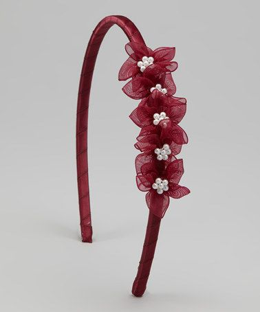 Take a look at this Burgundy Blossom Headband by Kid's Dream on #zulily today!