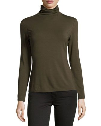 Nouveau Turtleneck Jersey Sweater, Loden by Lafayette 148 New York at Neiman Marcus Last Call.