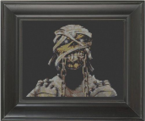 """""""Eddie"""" - From CrassCross. The cross stitch pattern to make this piece is available for just $5.   http://crasscross.com/collections/celebrity-patterns/products/eddie-cross-stitch-pattern-chart"""