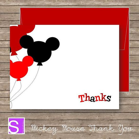 Mickey Mouse Thank You Card Printable Diy By Stelieprintables 6 00