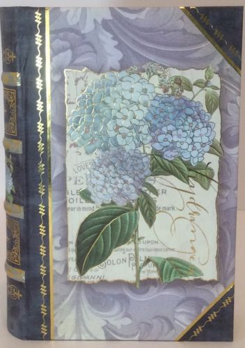 Punch Studio Blue Hydrangea Butterfly Decor Organizer Storage Keepsake Book Box