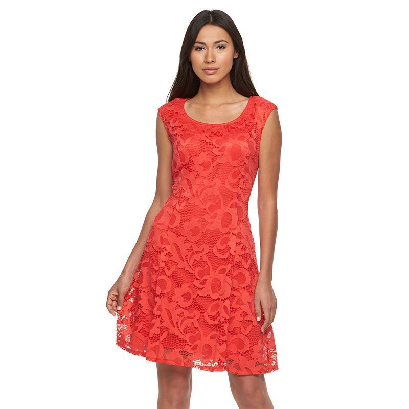 Women's Ronni Nicole Embroidered Lace Fit & Flare Dress, Size: 12, Med Orange