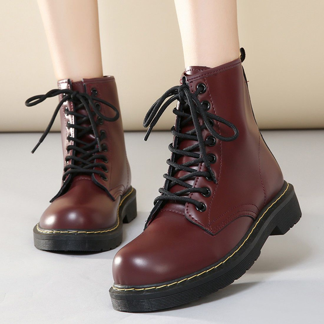 Women Fashion Round Toe Lace Up Ankle Martin Flat Boots Shoes