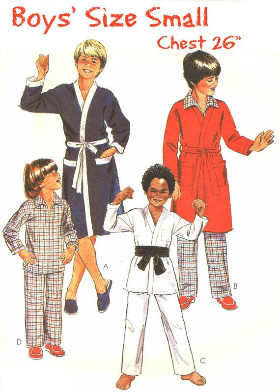 UNCUT 80s BOYS\' Pajamas and Robe Sewing Pattern - Vintage McCall\'s ...