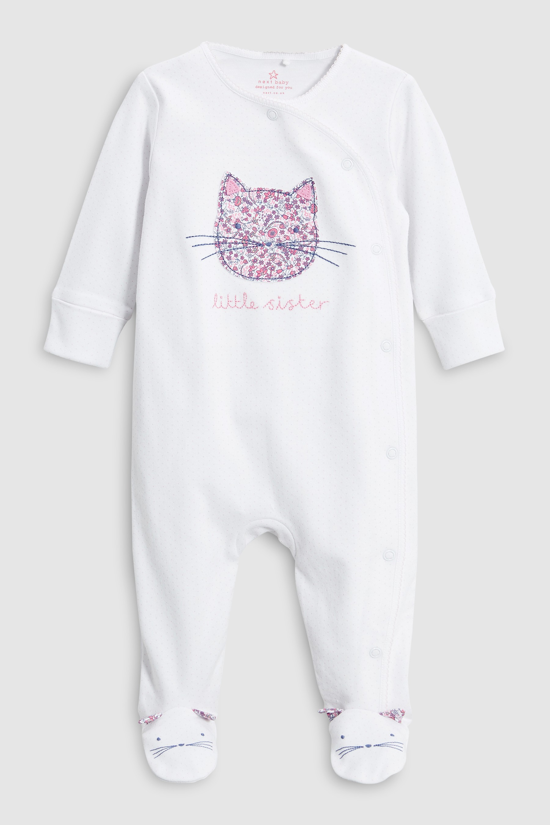 46465153281e Girls Next White Little Sister Cat Sleepsuit (0-18mths) - White ...