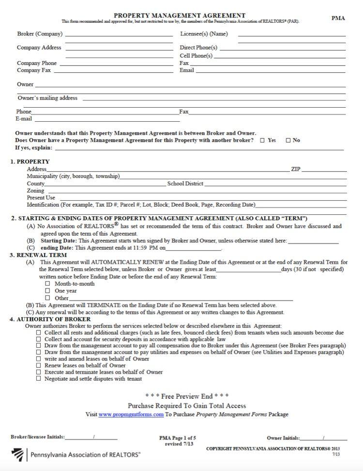 Pennsylvania Property Management Agreement Property Management