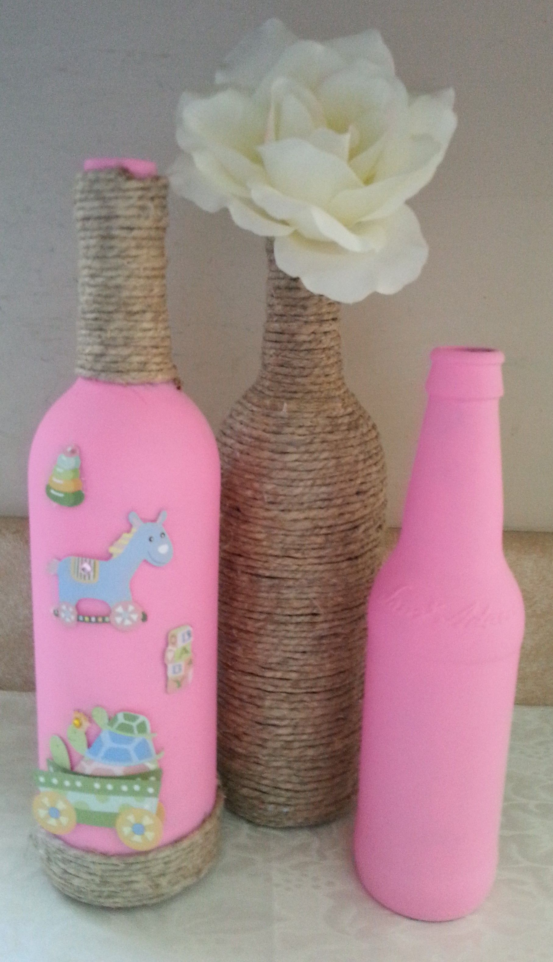 Wine Bottle Baby Shower Centerpiece Girl Upcycled Home Decor