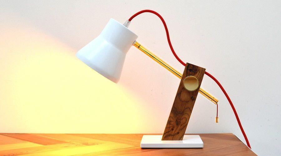 JAM Furniture Brass and reclaimed oak Desk Lamp