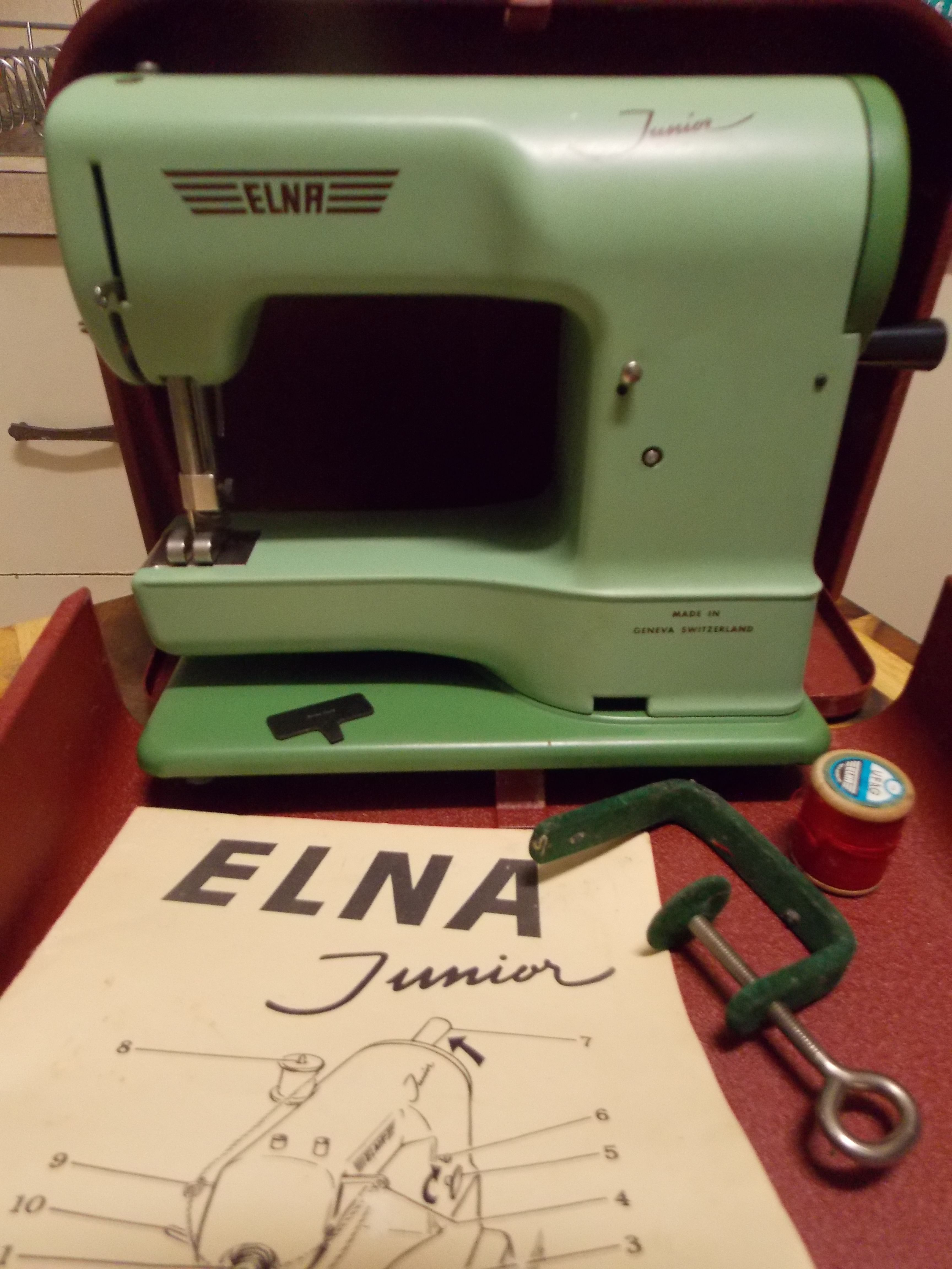 our elna junior toy sewing machine complete with manual clamp and rh pinterest com Elna TSP Sewing Machine Manual Elnita Sewing Machine Manual