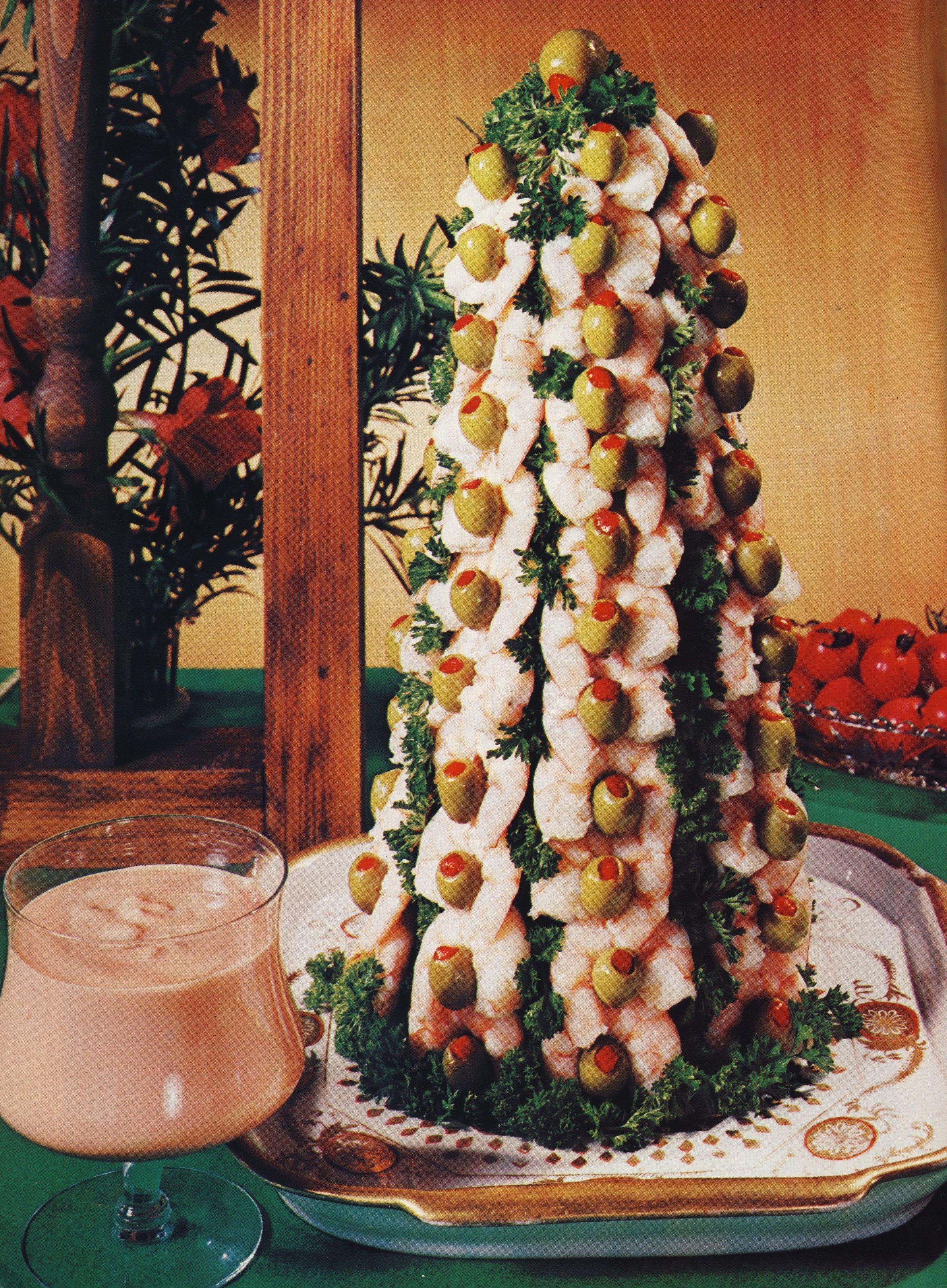 Making the Shrimp Christmas Tree from Bon Appétit 1974 ...   Bon Appetit Christmas Recipes