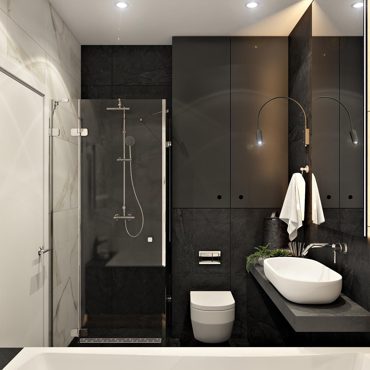 2 Masculine Interiors In Shades Of Grey Black Brown Mit Bildern Dekoration Badezimmer Offene Wohnung Schwarzes Badezimmer