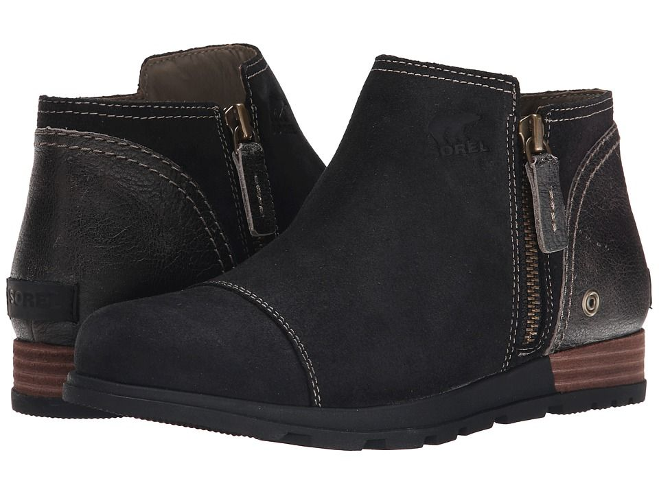 SOREL SOREL - MAJOR LOW (BLACK/WET SAND) WOMEN'S ZIP BOOTS. #