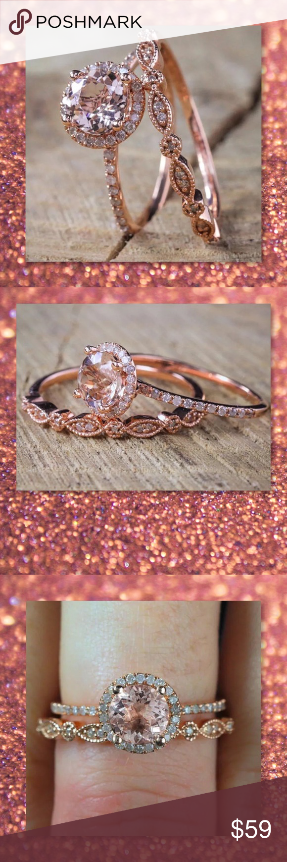 JUST IN🆕 2pc 925 Rose Gold Filled Wedding Set Boutique | White ...