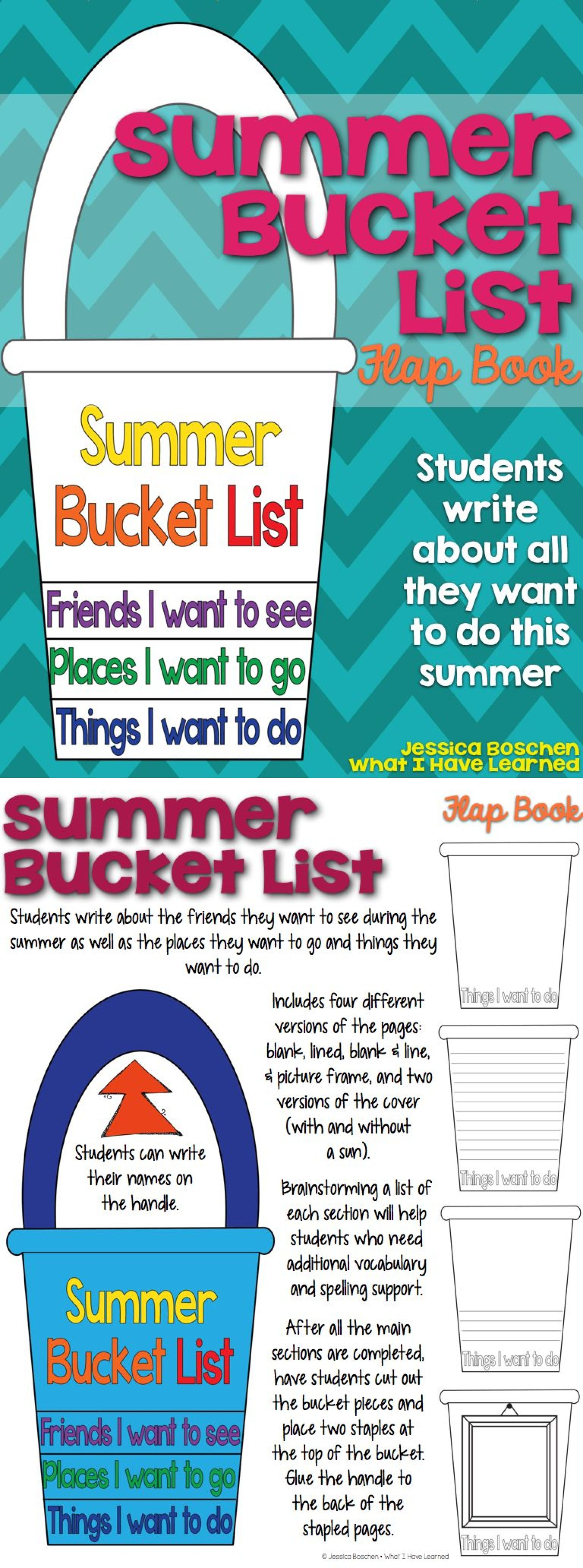Summer Bucket List Flap Book.  A fun craftivity for the end of the year where students tell about what they want to do during the summer.  #craftivity #summerbucketlist #endoftheyear