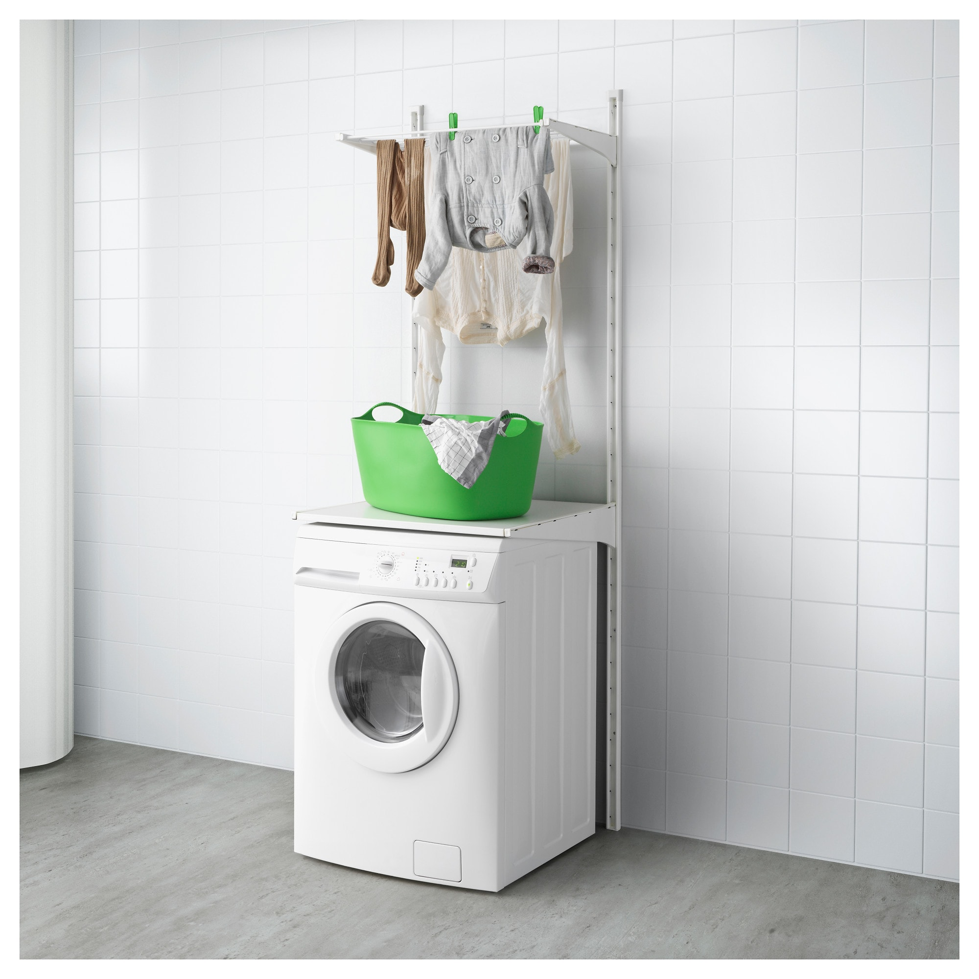Algot wandschienebödenwäschehalter weiß waschküchenorganisation