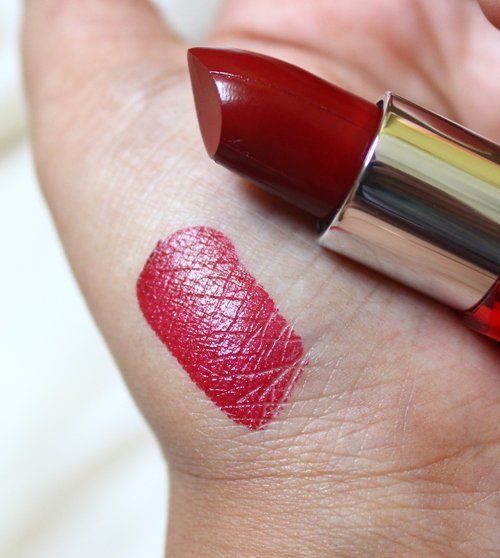 9f17d488b88  Maybelline  Colorshow  Lipstick  RedVelvet  review  price and details on  the blog  swatch