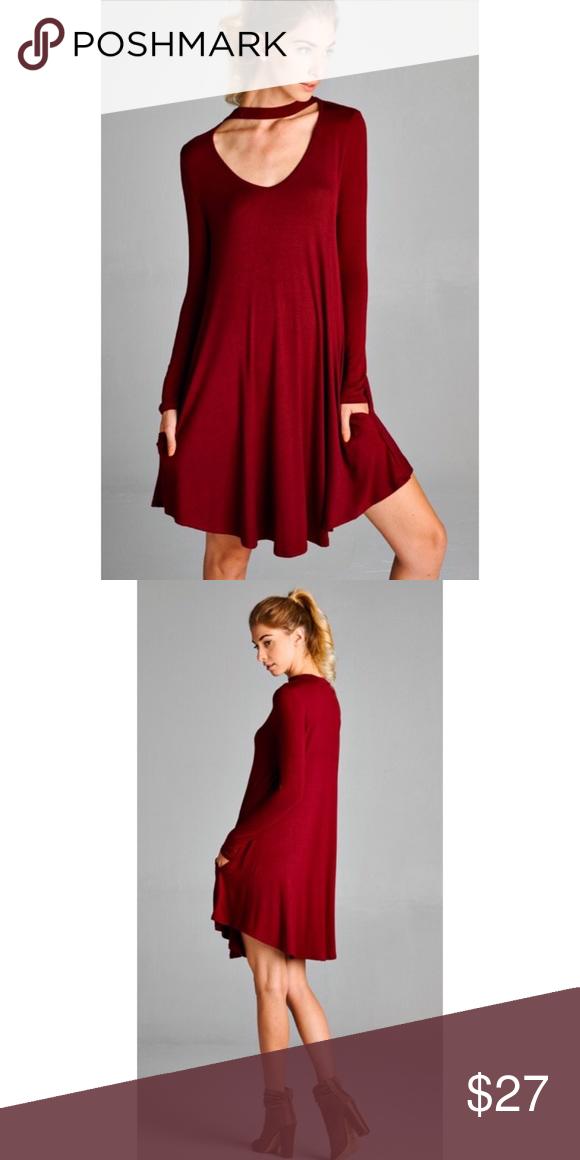 3048ff47d653 Boho Burgundy Choker Tunic Dress w pockets S M L Perfect for Fall!! Burgundy  choker