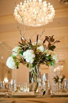 Magnolia And Hydrangea Centerpiece