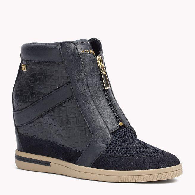 best loved 2eab5 460d1 Tommy Hilfiger Sneakers Aus Leder Und Gewebe Mit Keilabsatz ...